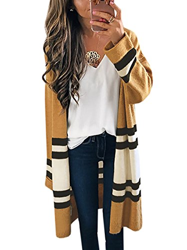 Womens Long Cardigans Yellow Color Block Open Front Long Sleeve Kint Cardigan Sweaters By SUNMMWERY