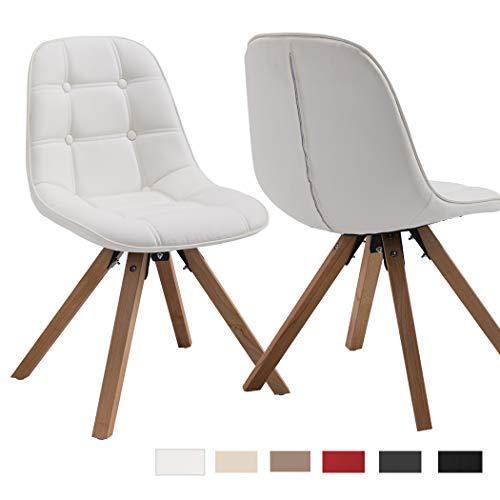 Duhome 2er Set Esszimmerstuhl Aus Kunstleder Weiss Farbauswahl Retro Design Stuhl Mit Ruckenlehne Holzbeine Wy 466