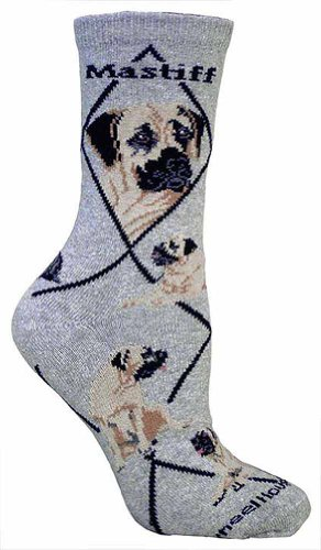 Mastiff Gray Cotton Dog Novelty Socks for Adults 9-11
