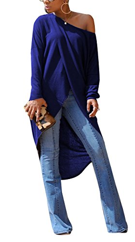 Womens Sexy Front Split Long Sleeve Off Shoulder Clubwear Party Maxi Dress Tops Blue S