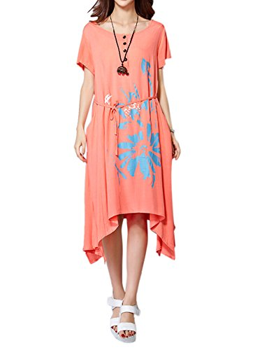 Belt Elegant Cotton Women Bow High Linen Dress Low Orange Floral x10xTqrw