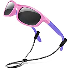 RIVBOS Rubber Kids Polarized Sunglasses With Strap Glasses Shades for Boys Girls Baby and Children Age 3-10 RBK023 (1511-Pink&purple)