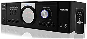 Pyle 1000 Watt Premium Home Audio Power Amplifier - Portable 4 Channel Surround Sound Stereo Receiver w/ Speaker Selector & Remote - For Amplified TV, Subwoofer Speakers, Theater & PA System - PT1100