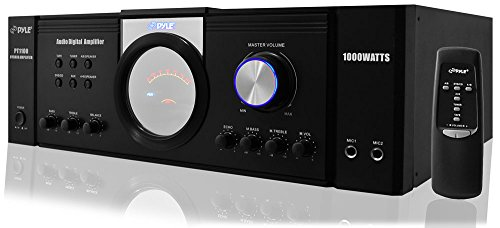 Pyle 1000 Watt Premium Home Audio Power Amplifier - Portable 4 Channel Surround Sound Stereo Receiver w/ Speaker Selector & Remote - For Amplified TV, Subwoofer Speakers, Theater & PA System - PT1100 (Home Subwoofer Package)