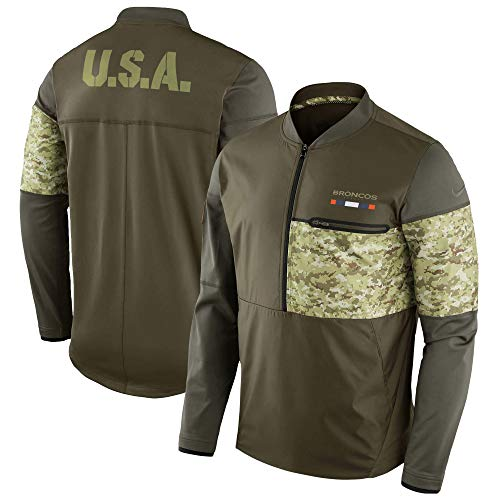 9f0b66d7 NIKE Shield Denver Broncos Salute to Service Half-Zip Sideline Hybrid Jacket,  Digital Camo, XX-Large