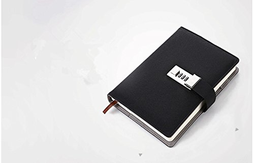 JunShop Password With Lock Student Diary Creative Encryption Business Notebook (Black)