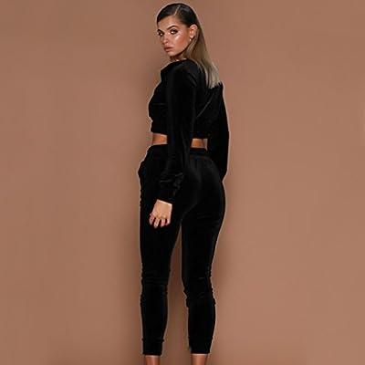 Sunward Women's Long Sleeve Casual Sport Soft Active 2 Piece Velour Full Zip Top & Pants Tracksuit Set