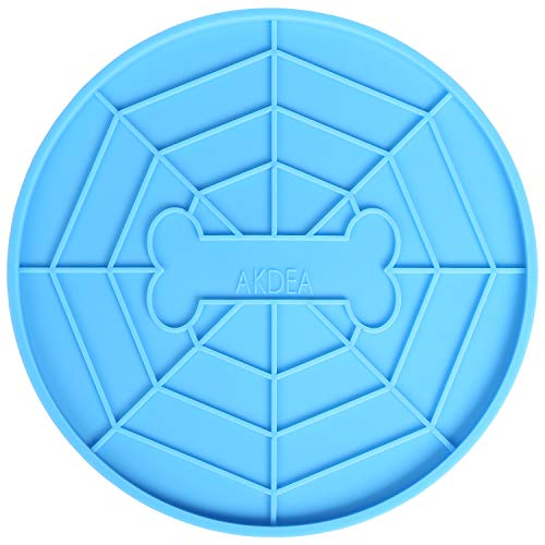 AKDEA Dogs Buddy for Pet Bathing, Grooming, Calming, Trimming - Durable Silicone Dog Lick Pad with Super Strong Suction Cup - Just Add Peanut Butter (5.9 inches Diameter - Pet Slow Treater - Blue)