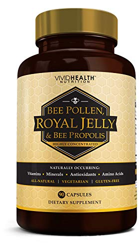 Vivid Health Nutrition High Potency Royal Jelly and Bee Pollen Capsules, 90 Count (Zi Xiu Tang Bee Pollen Capsules)