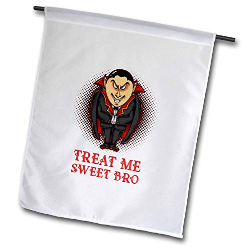 3dRose Alexis Design - Holidays Halloween - Image of an Elegant Vampire. Treat Me Sweet Bro. Halloween Theme - 18 x 27 inch Garden Flag -