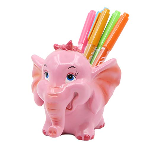 Exquisite Cute Resin Animal Pen Pencil Holder Desk Organizer Accessories (Pink Elephant)