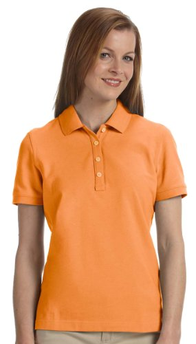 Women's Slim-cut Ashworth Classic Solid Pique Polo, Mango, M (Classic Solid Pique Polo)