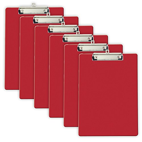 Officemate Recycled Plastic Clipboard, Letter Size, Red, Pack of 6 (83083)