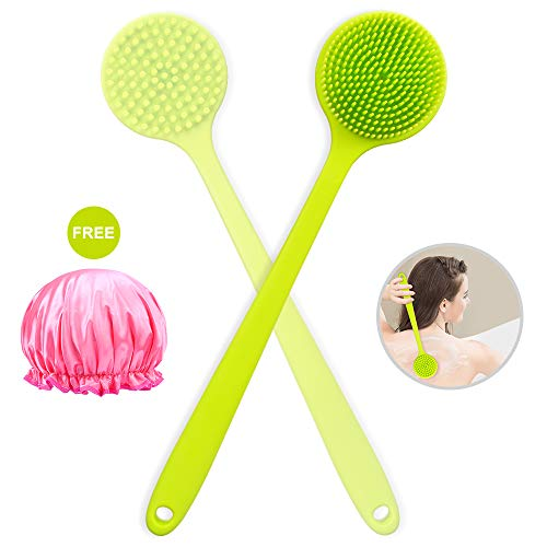 Silicone Bath Body Brush, Acavado with Long Handle Soft Back Scrubber for Cellulite And Exfoliating Shower Cap Included