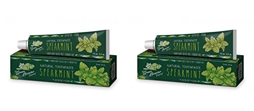 Beaver Green - Green Beaver Spearmint Natural Toothpaste (Pack of 2) with Spearmint Leaf Oil, Lemon Extract and Xylitol, Flouride-free, Gluten-free, Cruelty-free, Vegan and Biodegradable, 2.5 oz