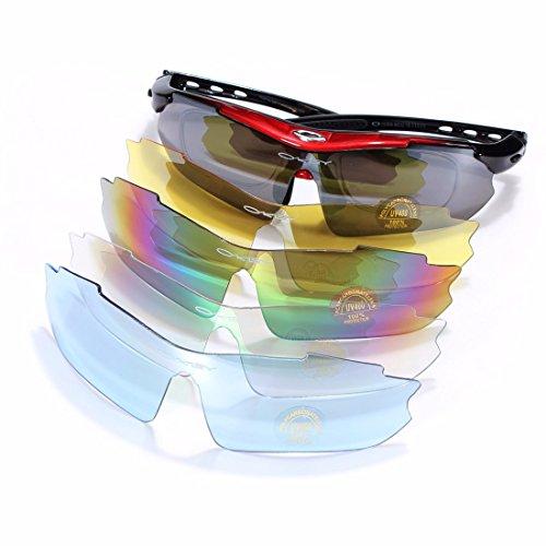OUTERDO Radbrille Sportbrille Sonnenbrille Schutzbrille Fahrrad Goggle Rennrad Brille Rot+Schwarz 5 x Wechselgläser