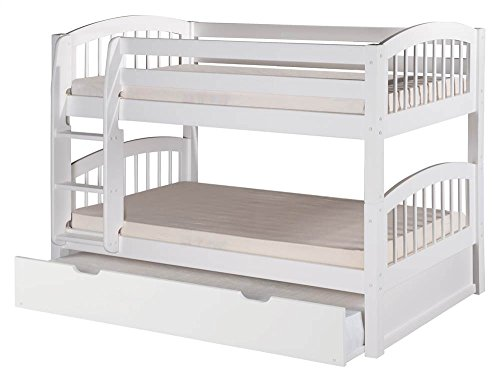 Camaflexi Arch Spindle Style Solid Wood Low Bunk Bed with Trundle, Twin-Over-Twin, Side Attached Ladder, White