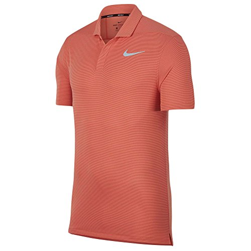 South Island Shirt - Nike AeroReact Victory Stripe Golf Polo 2018 Rush Coral/Flat Silver Large