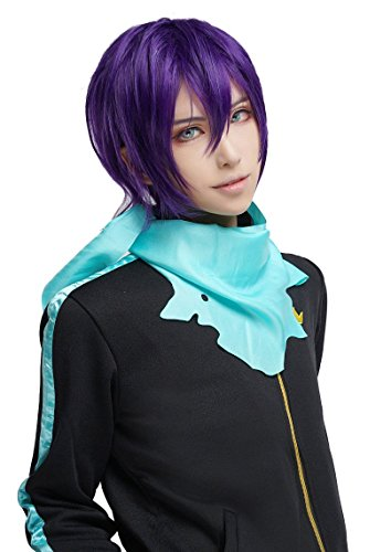 Yato Cosplay Costume (Nuoqi Anime Noragami Yato Cosplay Wigs Mens Black Purple Hairs)
