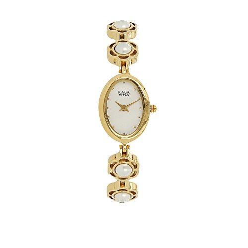 - Titan Raga Swarovski Crystal, Mother of Pearl Dial, Gold/Silver/Brass Metal, Jewellery Design, Bracelet Style, Designer, Quartz Glass, Water Resistant Wrist Watch
