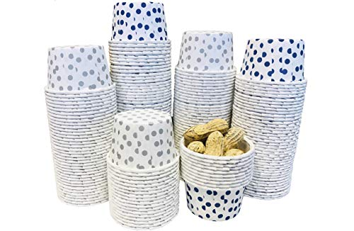 Candy Nut Mini Baking Paper Treat Cups - White Silver Dot and White Navy Dot - Bulk 200 Pack