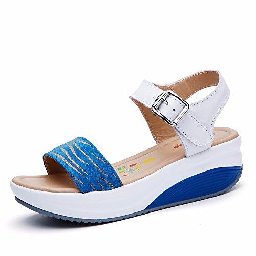 5531 blu Pendenza Ladies Scarpe Punta 55 Aperta Donna Casual La Estate Spesso Sandali Shoes Fondo Con No xFfqwUC