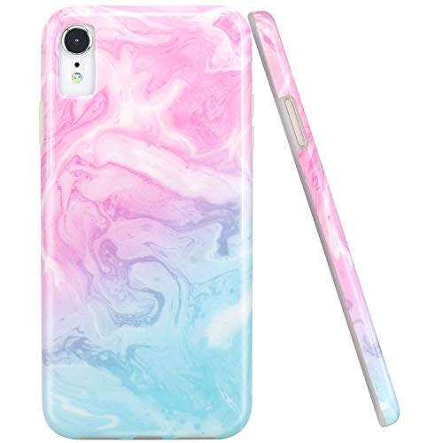 JAHOLAN Compatible iPhone XR Case Pink Blue Marble Design Clear Bumper Glossy TPU Soft Rubber Silicone Cover Phone Case for iPhone XR 2018 6.1 ()