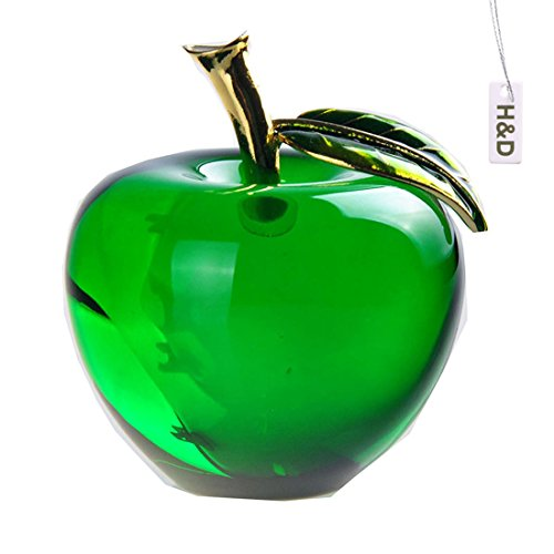 H&D Glaze Crystal Apple Paperweight Craft Decoration (green) (Ornament Glass Fruit)