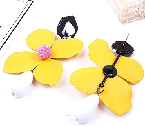 Best lady New Arrival Cute Multi Color Flower Stud Earrings For Women Charm (Yellow)