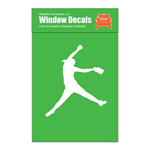 Magnetic Impressions Softball Pitcher Car Window Decal White