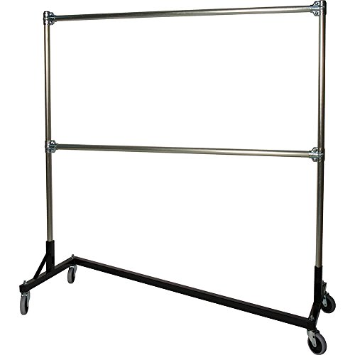 Quality Fabricators Z-Rack, Heavy Duty Clothes Rack 75'' L x 84'' Uprights, Double Rail Black 272842BLK by Quality Fabricators (Image #1)