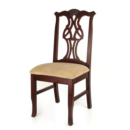 Beechwood Mountain Fully Assembled Chippendale Side Dining Chair in Medium Oak Finish