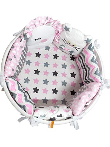 Baby Nursery Crib Bedding Set Premium with Bumpers for Round Crib (Stars (for Girls) Pillow Bumpers)