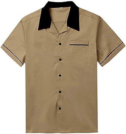 Solid Colored//Short Sleeve IYFBXl Mens Cotton Shirt