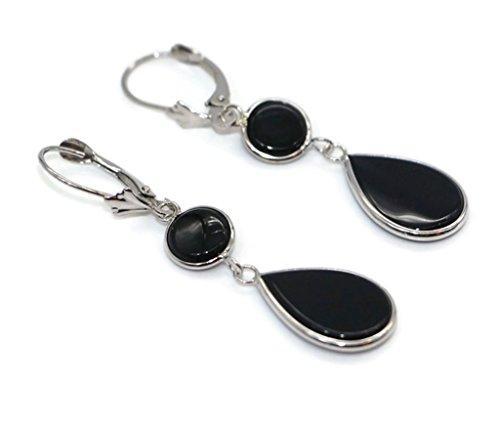 Onyx Black Double Hanging Earrings set in 14K White Gold,Leverbacks 14k Gold Onyx Drop Earrings
