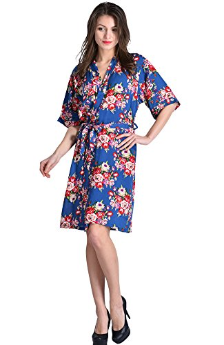 Mr&Mrs Right Women's Cotton Short Floral Wedding Robe - Bridesmaids Dressing Gown, Blue, US: M