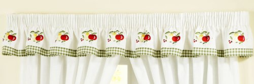 APPLES AND PEARS GINGHAM EMBROIDERED GREEN VALANCE PELMET TO MATCH KITCHEN CURTAINS L136