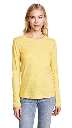 Vince Women's Long Sleeve Slub Crew Neck Tee, Limelight, Large (Tee Vince Jersey Pima)