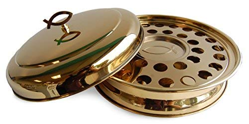 Stackable Communion Tray with Center Bread Plate integrated and Tray Cover - Stainless Steel Brass Tone ()