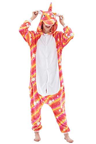 Adult Pajamas Unisex Sleepsuit Animal Sleepwear Jumpsuit Halloween Cosplay Costume (M (Height 161-170 cm), Orange B)]()