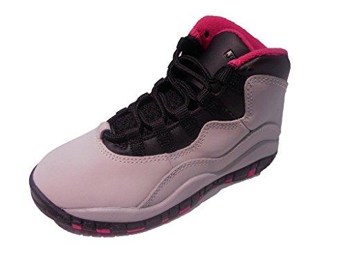 Girls Air Jordan 10 X Retro PS Vivid Pink Pure Platinum Black 487212-008 US 11.5c by Jordan