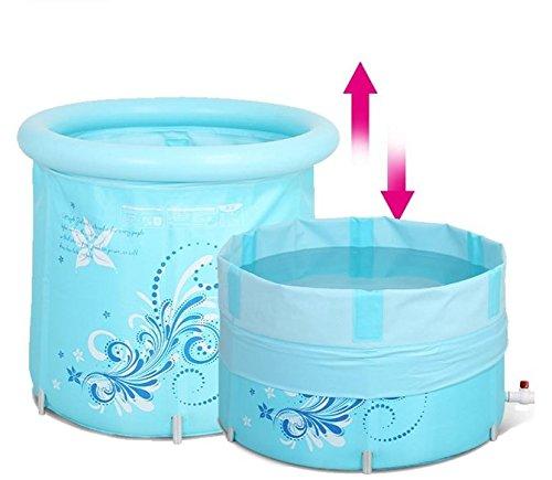 bluee folding bath tub lift barrel adult inflatable bathtub bath barrel (pink)