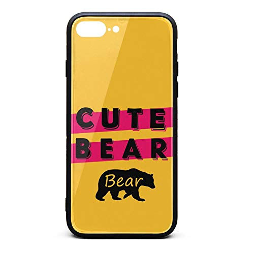 Phone Case for IPhone8 Plus/iPhone7 Plus Printted Bear Animal Cute Bear Tempered Glass Black Anti-Scratch TPU Rubber Bumper Shock Accessories for Womens Ladies Back Cover
