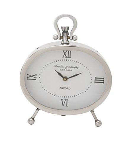 Deco 79 45677 Classy Metal Oval Table Clock, 8
