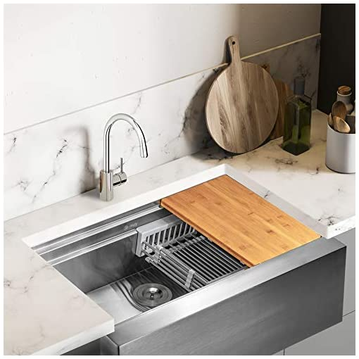 AKDY 30-Inch Kitchen Sink with Drain Strainer Kit Adjustable Tray and Cutting Board Apron Farmhouse Handmade Stainless Steel Kitchen Sink- Single Bowl Space Saving Kitchen Sink 30x20x9