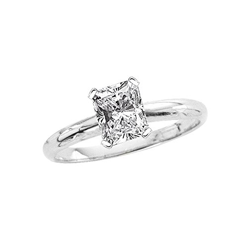 1.01 ct. I - SI1 Radiant Cut Diamond Solitaire Engagement Ring in 14k White Gold (Size-8) (Diamond Si1 Radiant Solitaire)