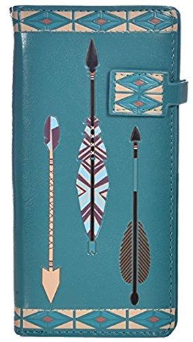 Shag Wear Women's Boho Large Zipper Wallet Aztec Arrow Teal