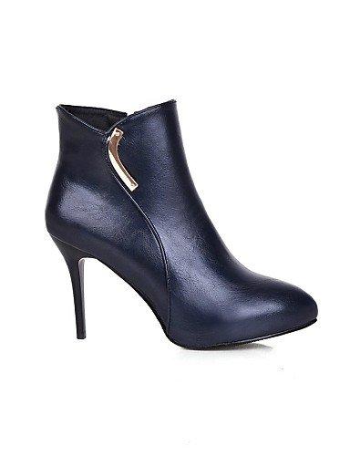 A Moda Cn39 Stiletto us5 Zapatos Uk3 La Xzz Azul Cn35 5 Y Negro Semicuero Tacón Blue Noche Vestido Red Eu39 us8 Uk6 Fiesta Mujer Botas De 5 Eu36 Rojo Id1Ign8Y