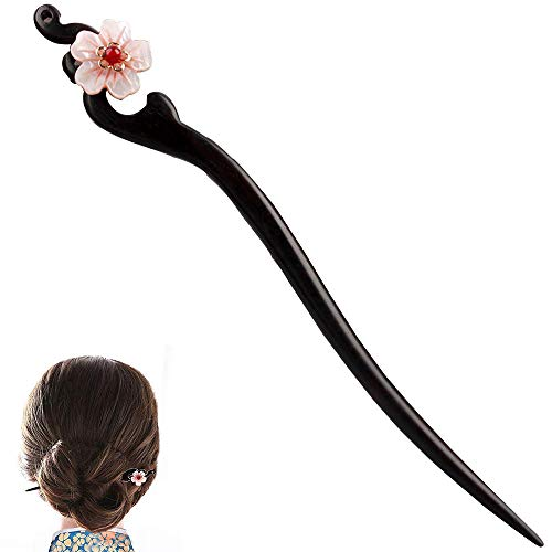 Women Girl's Hair Stick Wooden Handmade Hair Accessories,Chinese Retro Hairpins Flower Decor Model B