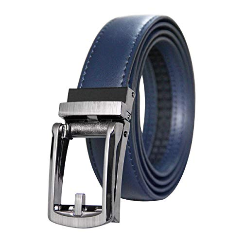 Men's Holeless Leather Ratchet Dress 1 1/8 Wide Belt with Automatic Sliding Buckle - Trim to Fit